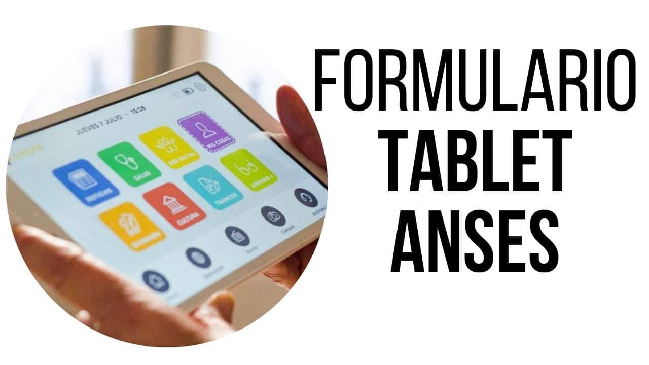 formulario de registro para la tableta ANSES